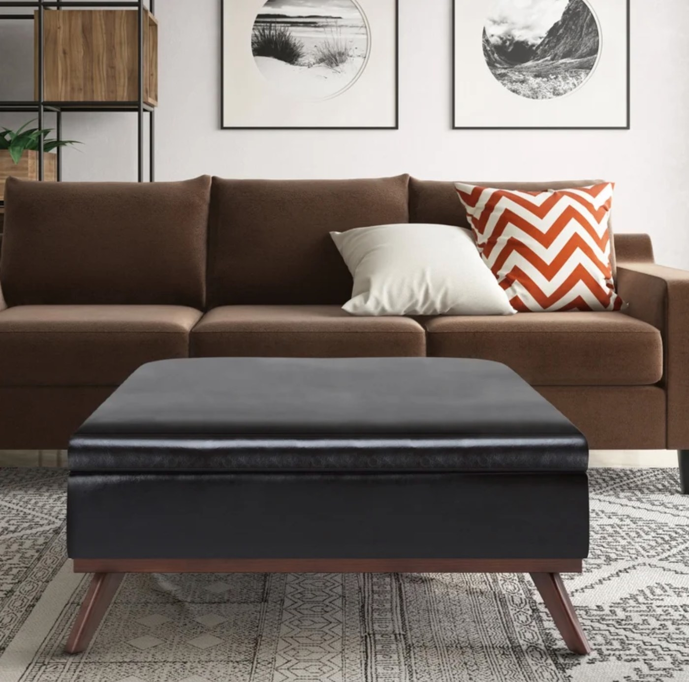 The ottoman in tanners brown faux leather