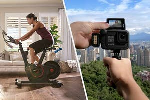 A split thumbnail of a person on an exercise bike and a person holding a GoPro