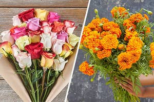 rose bouquet on the left and orange bouquet on the right
