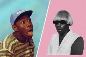 Tyler the Creator sticking his tongue out with a silly expression