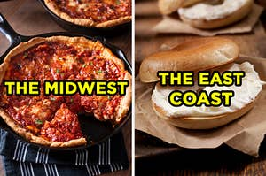 """On the left, a deep dish pizza labeled """"the midwest,"""" and on the right, a bagel with cream cheese labeled """"the east coast"""""""