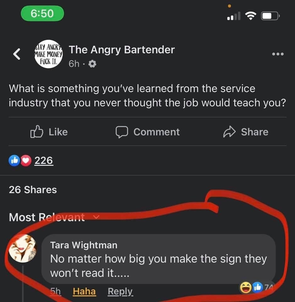 facebook comment reading no matter how big you make the sign they won't read it