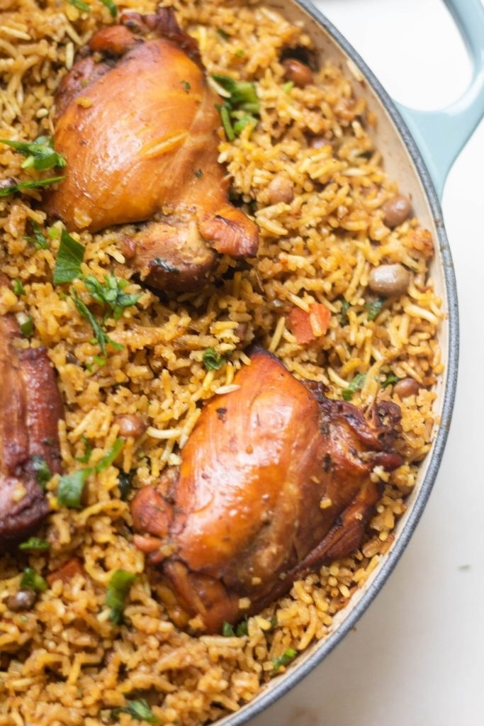 Trinidadian baked chicken and rice.
