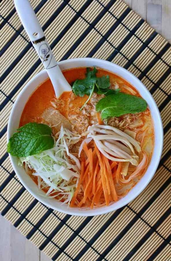 A bowl of Khao Poon, a Laotian noodle soup.