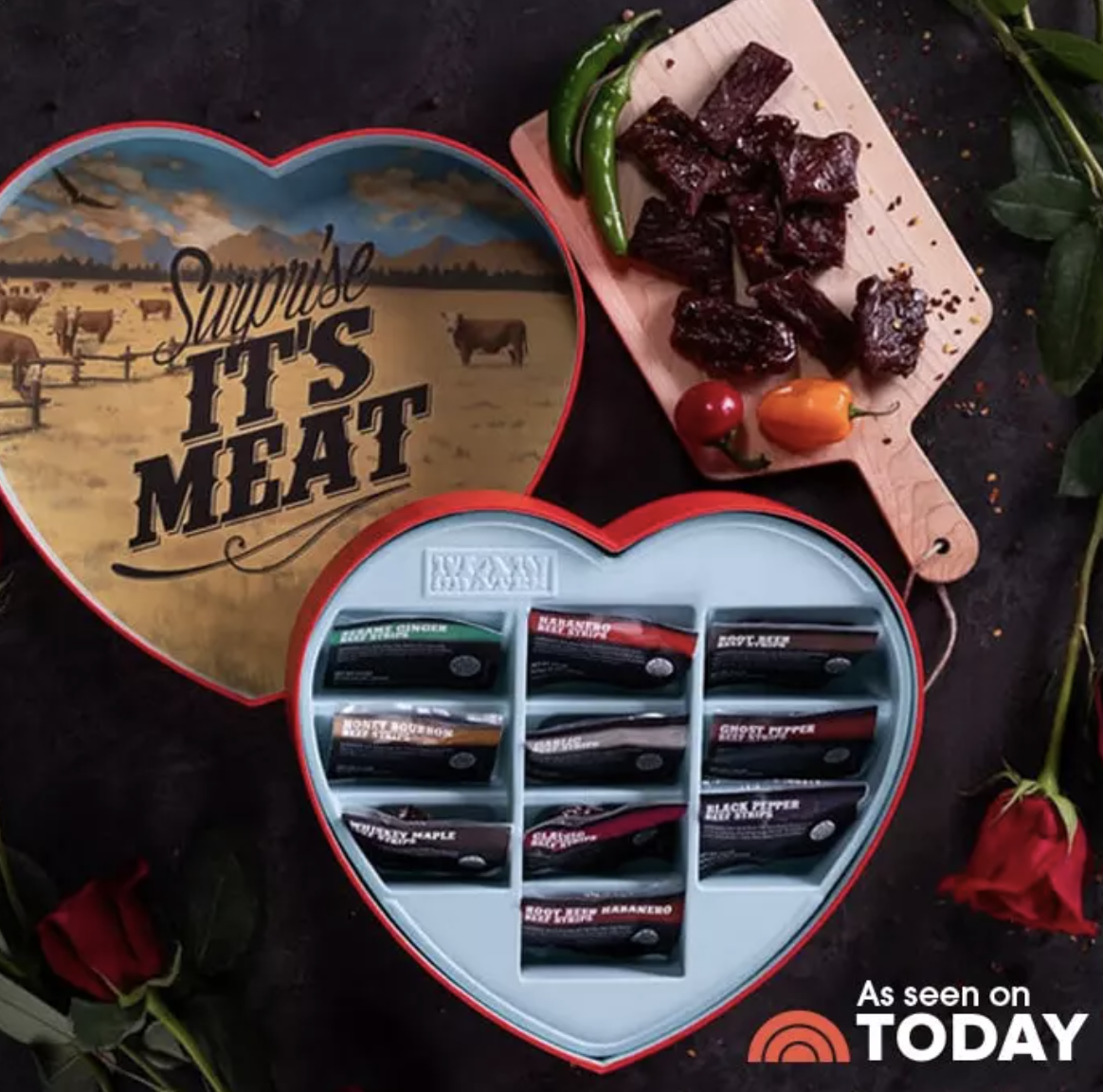 a heart shaped box filled with jerky