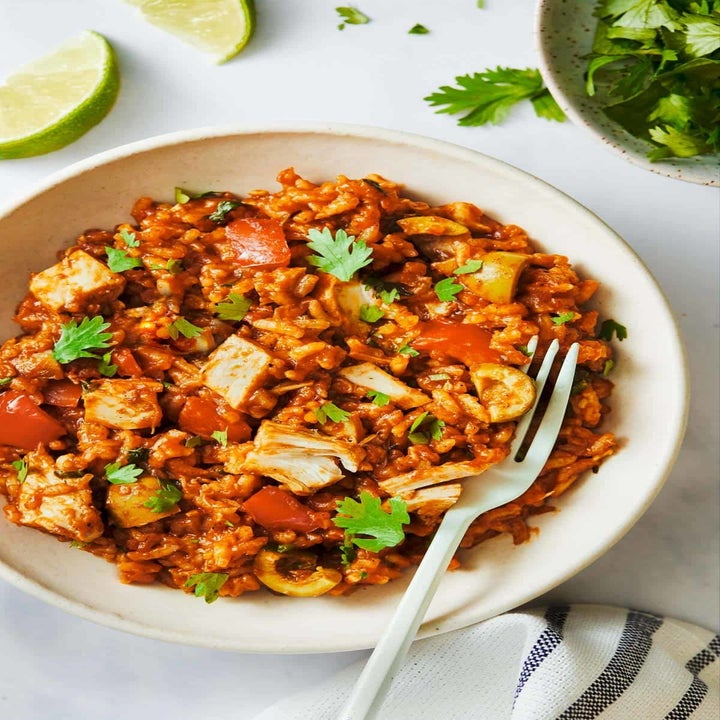 A bowl of arroz con pollo.