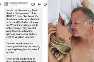 Screenshot of a DM next to a couple having an affair