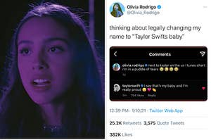 Olivia Rodrigo side by side with a tweet from her about Taylor Swift