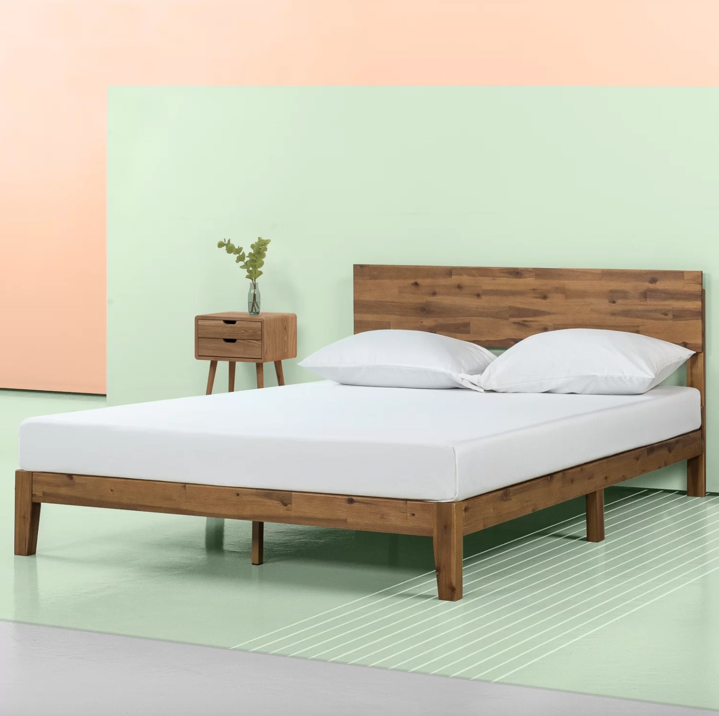 The low platform bed frame in wood