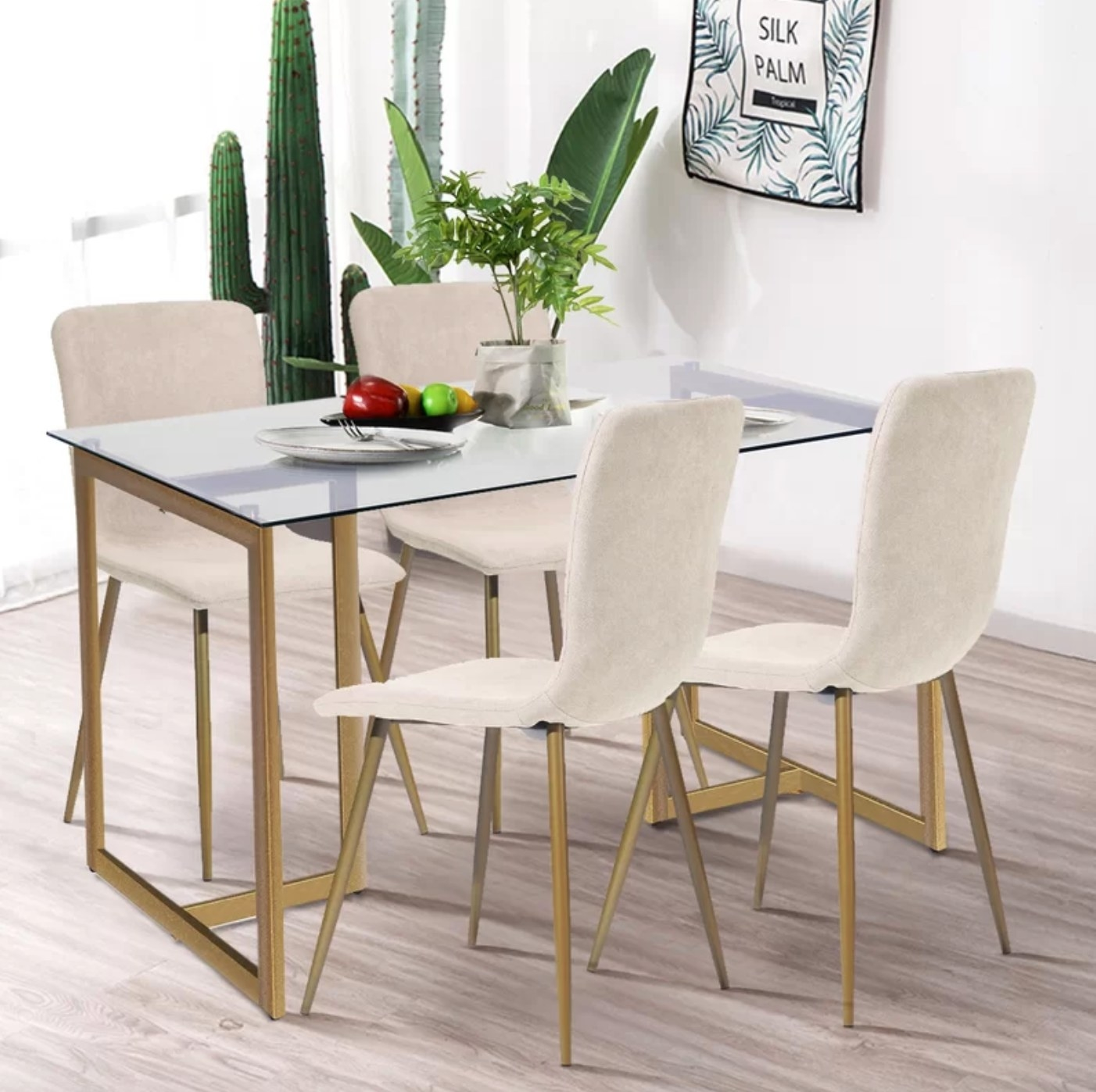 The five-piece dining set in beige