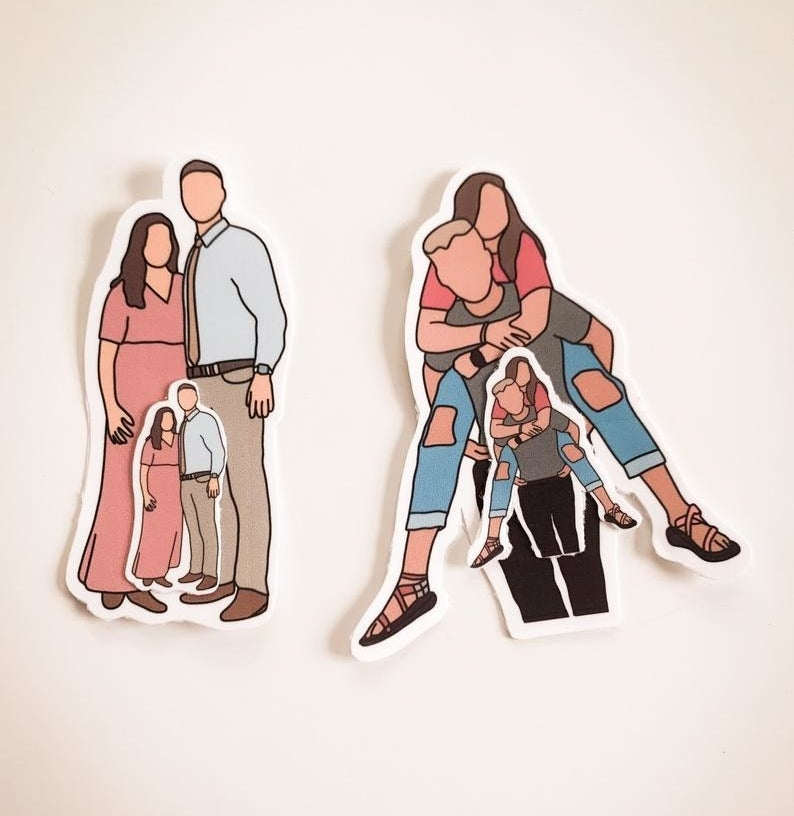 The faceless portrait stickers of couples, in regular and mini size