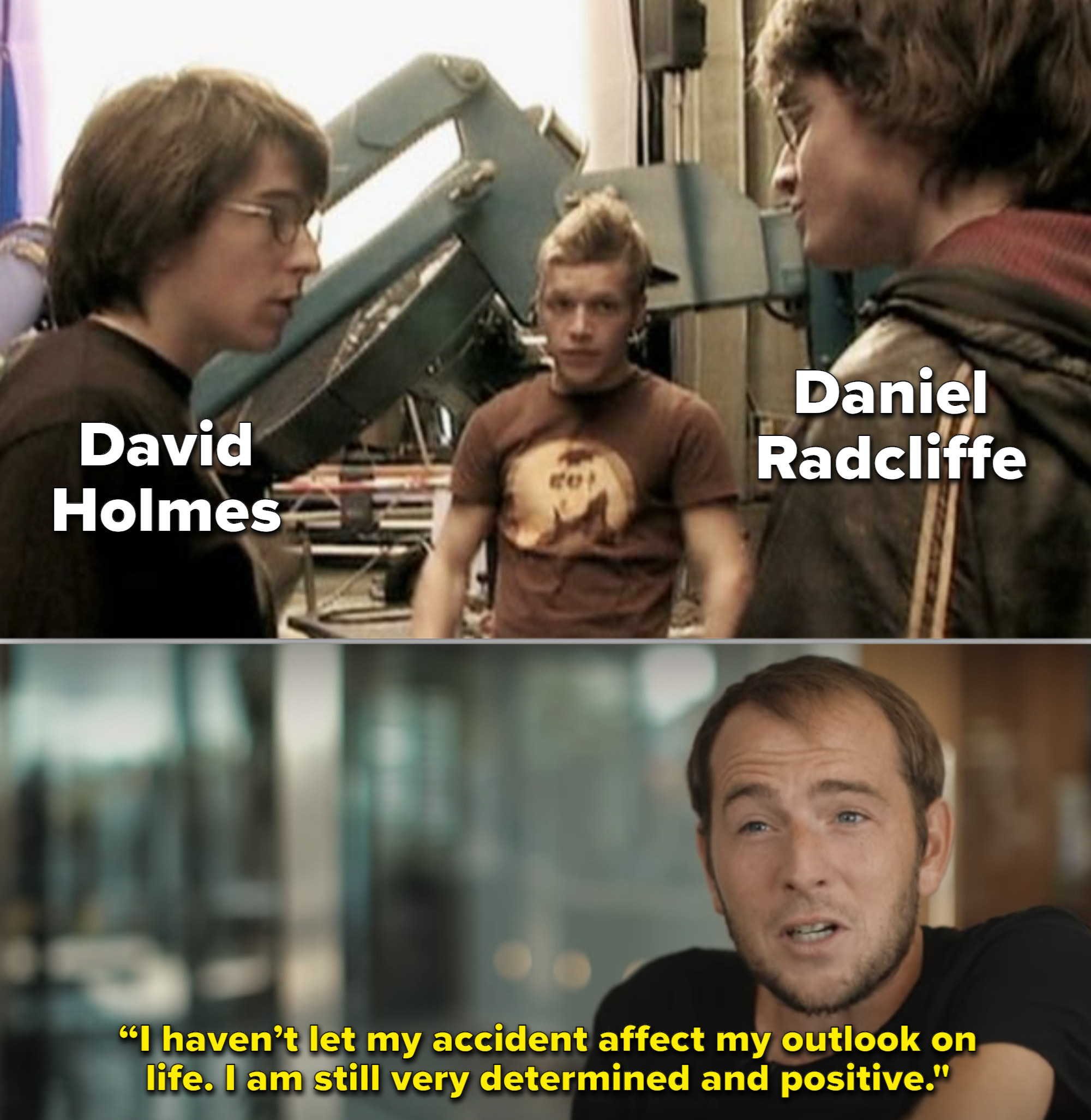 Behind-the-scenes footage of Holmes and Radcliffe together