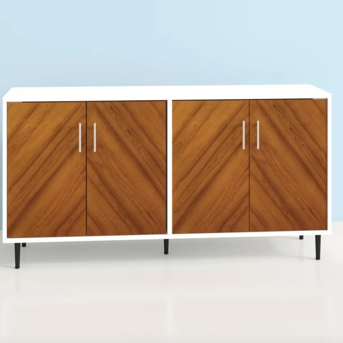 The wide sideboard in wood