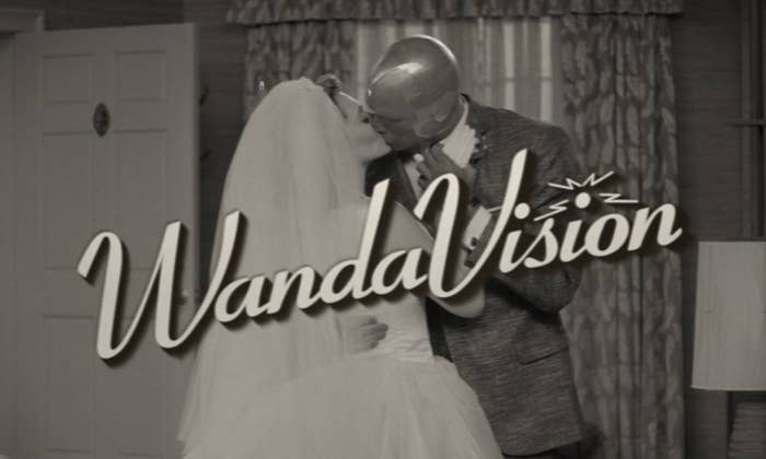 Wanda and Vision kissing on what appears to be their wedding day