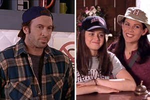 luke in the diner and rory and lorelai wearing harvard gear while visiting harvard