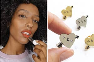 to the left: a model applying lipstick, to the right: a custom heart pin with intials in the middle