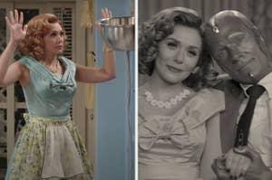 Wanda and Vision in WandaVision and Elizabeth Olsen behind the scenes