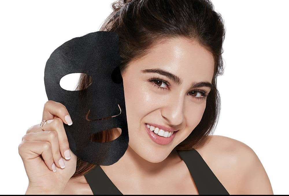 Bollywood actress, Sara Ali Khan, pictured with the mask.