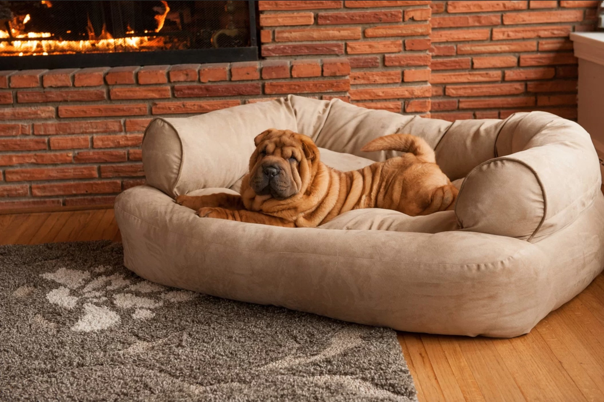 The overstuffed luxury bolster in buckskin