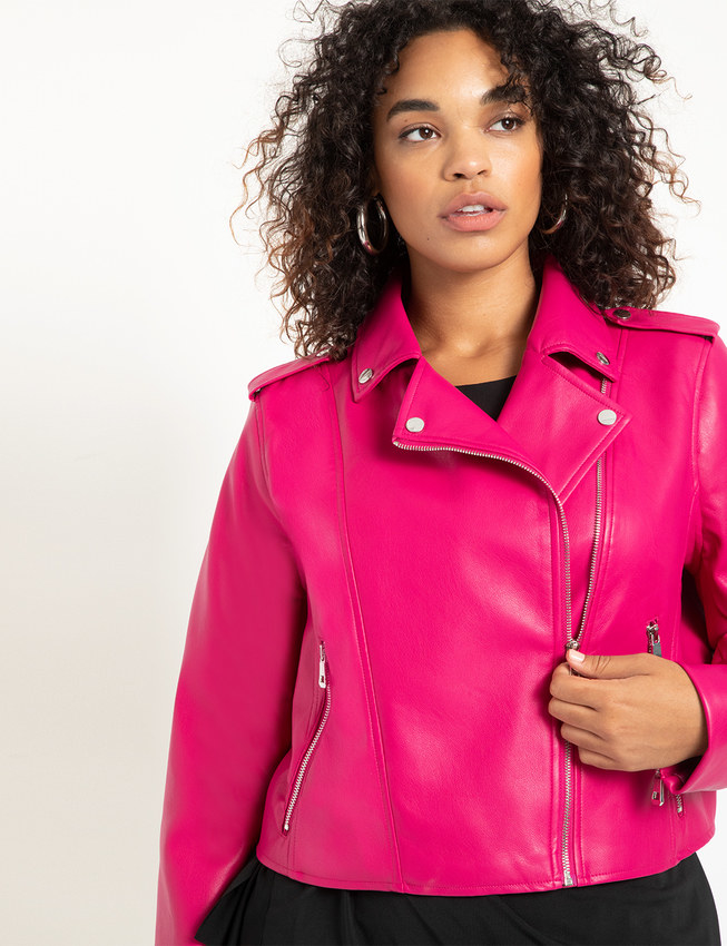 model wearing leather jacket in hot pink