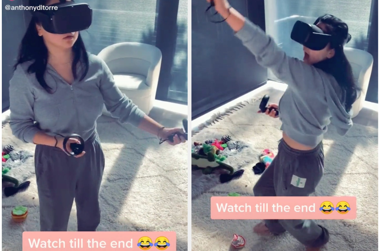 Lana Condor playing a VR game and getting scared