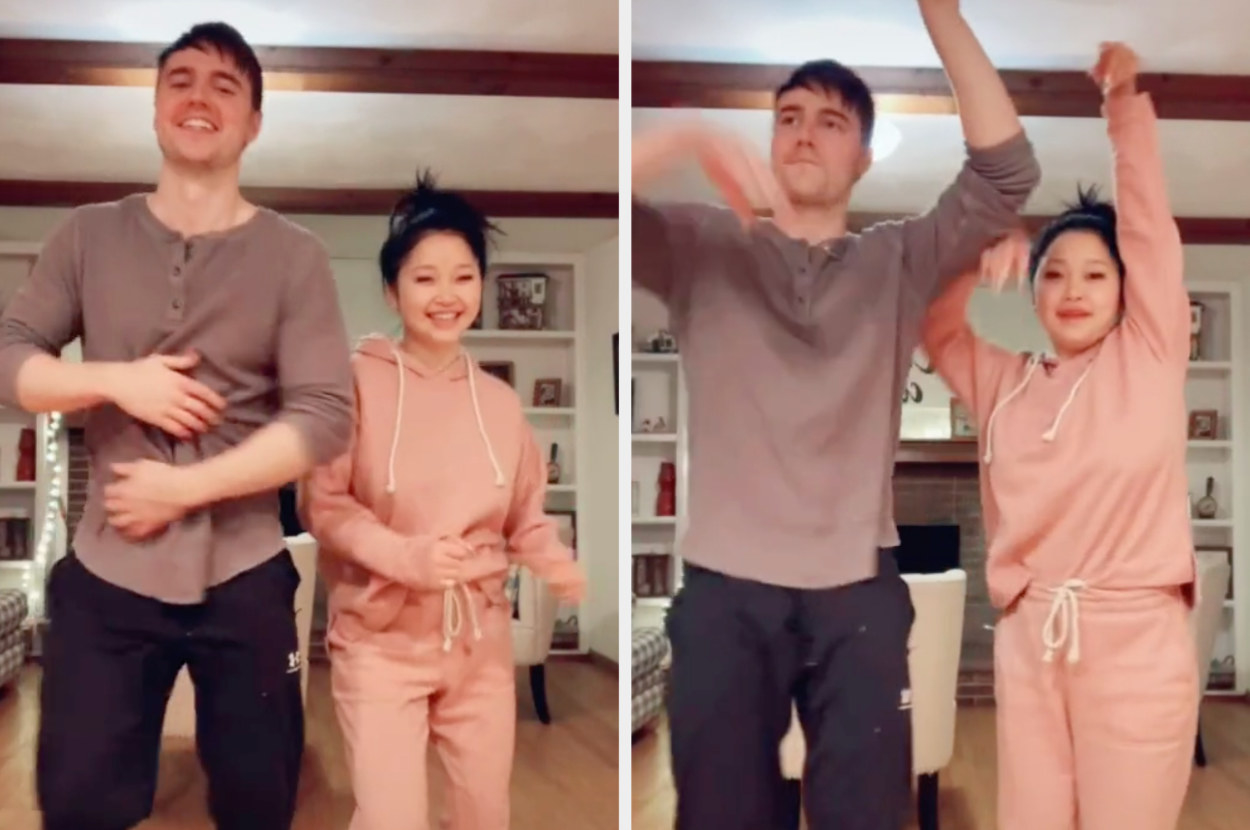 Lana and Anthony doing a dance at home