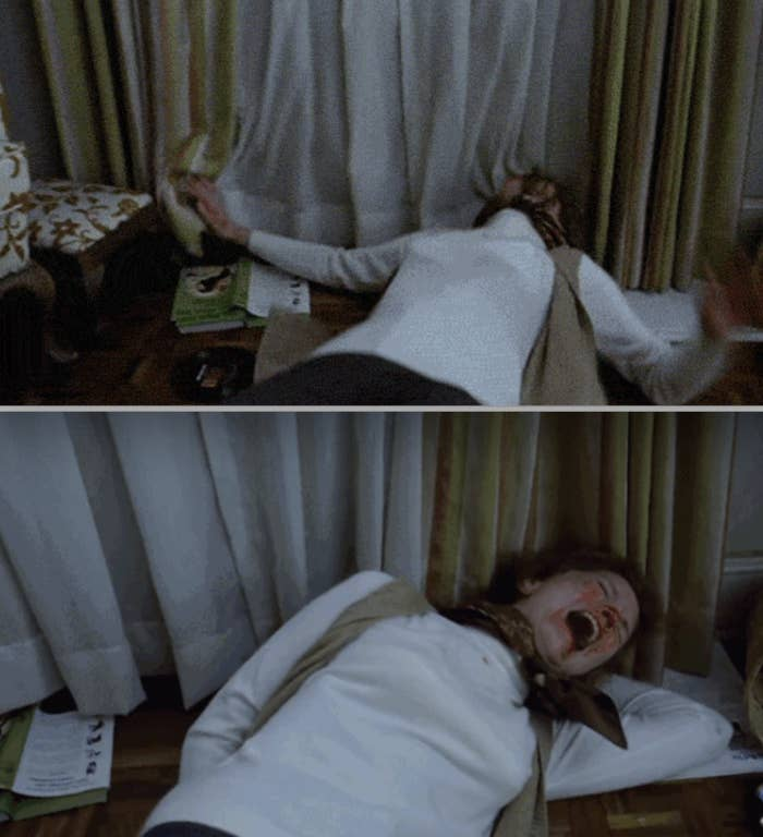Ellen Burstyn falling to the ground and screaming during the scene