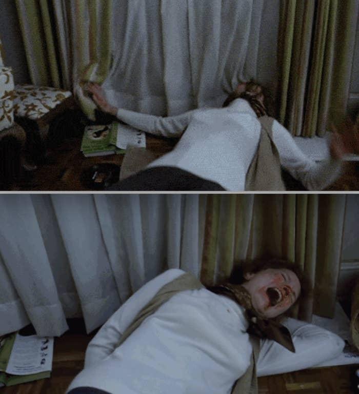 Ellen Burstyn jatuh ke tanah dan berteriak selama adegan itu