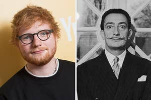Side-by-side images of Ed Sheeran and Salvador Dalí