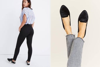(left) Black skinny jeans (right) Black velvet flats