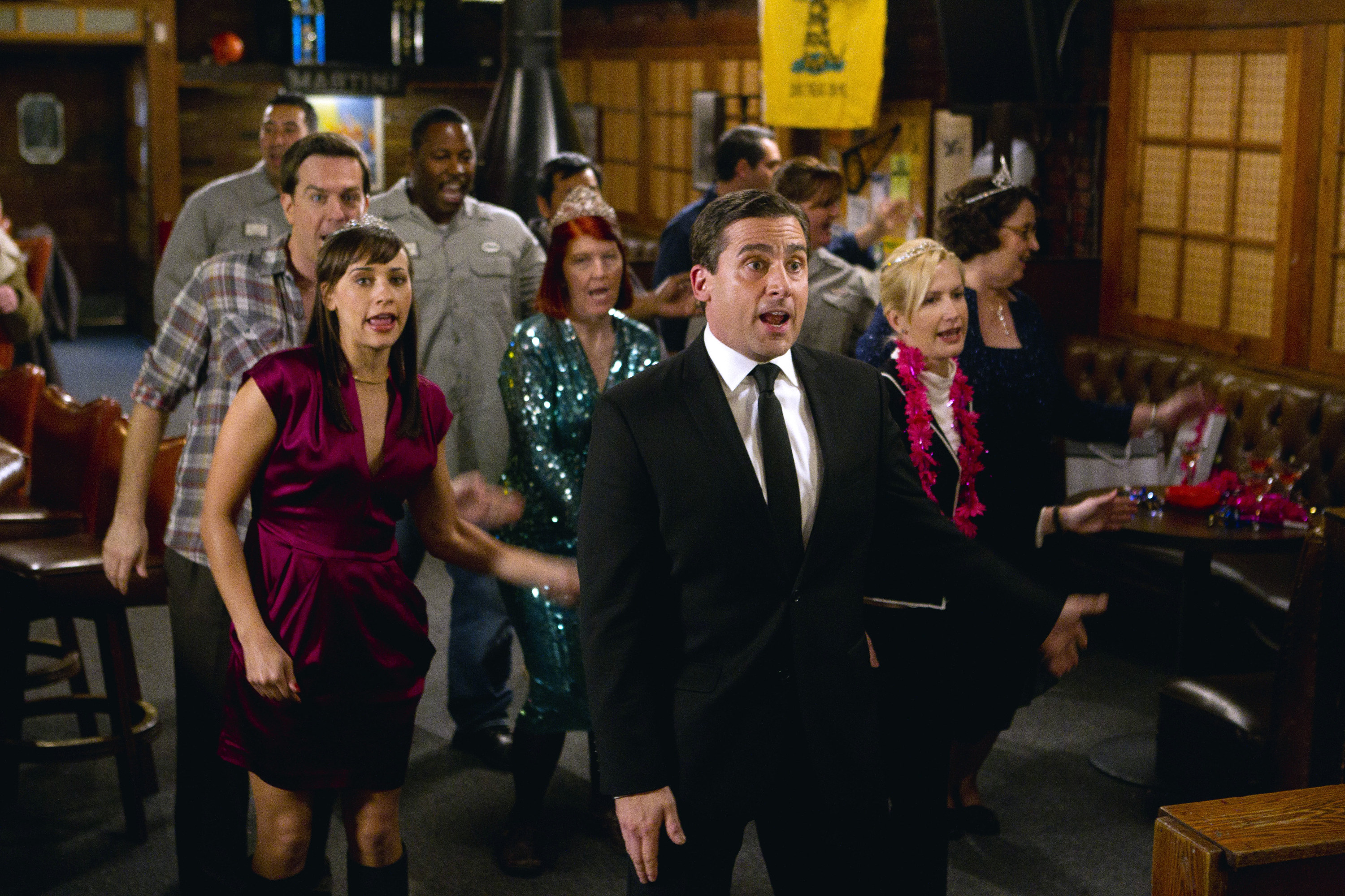 """The cast of The Office in the episode """"Threat Level Midnight"""""""