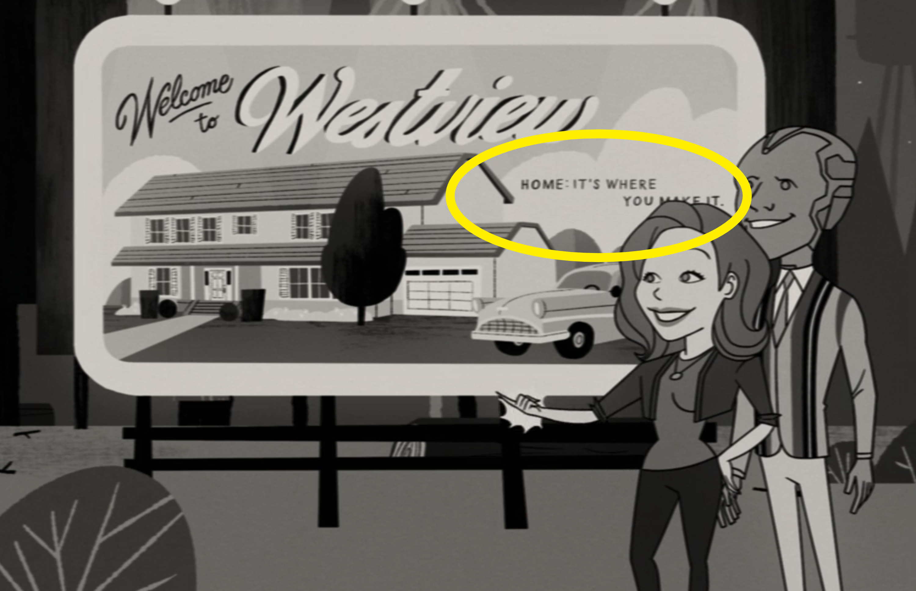 Animated Wanda and Vision looking at the sign for Westview
