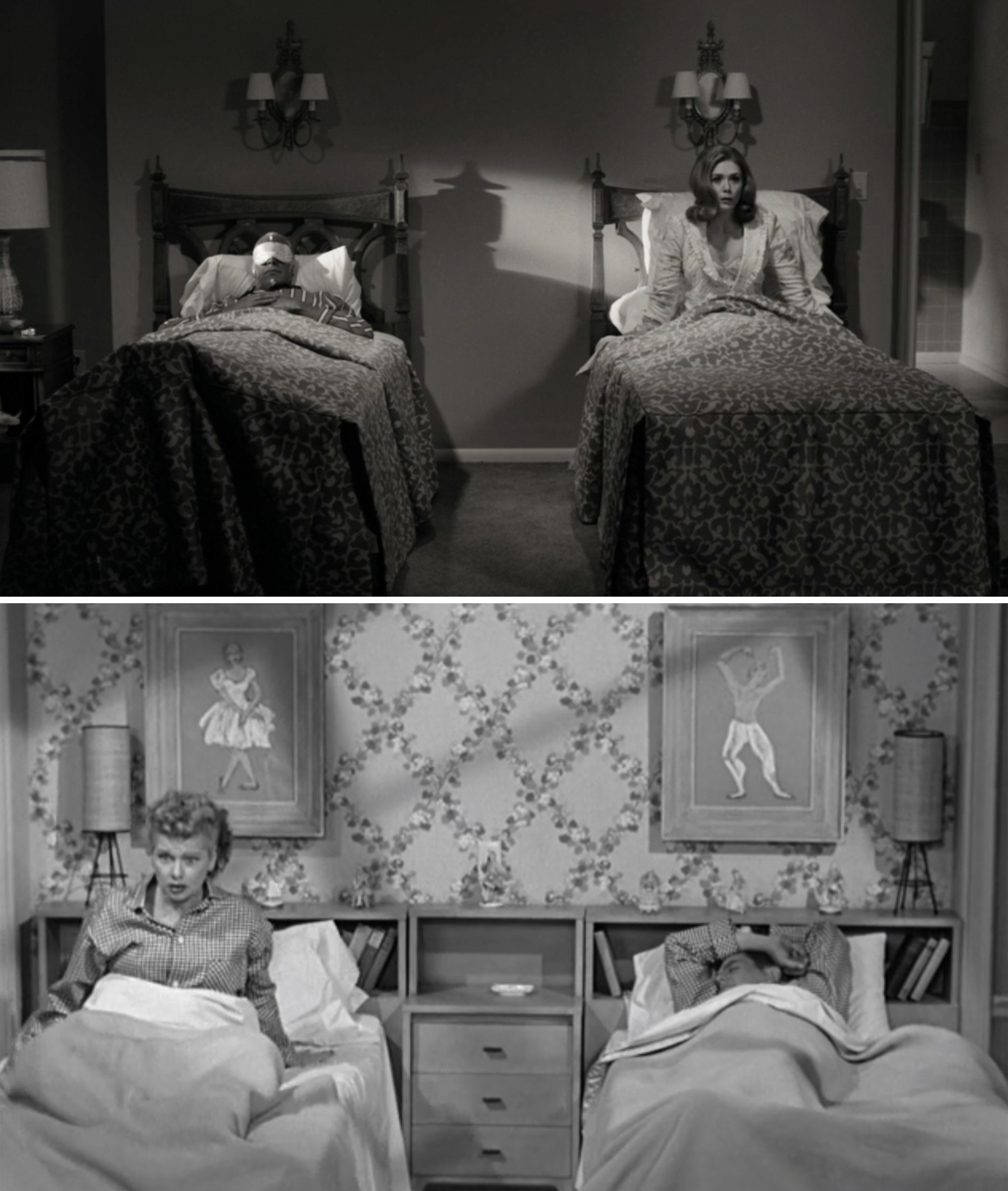 "Wanda and Vision in separate beds vs. Lucy and Ricky in separate beds in ""I Love Lucy"""