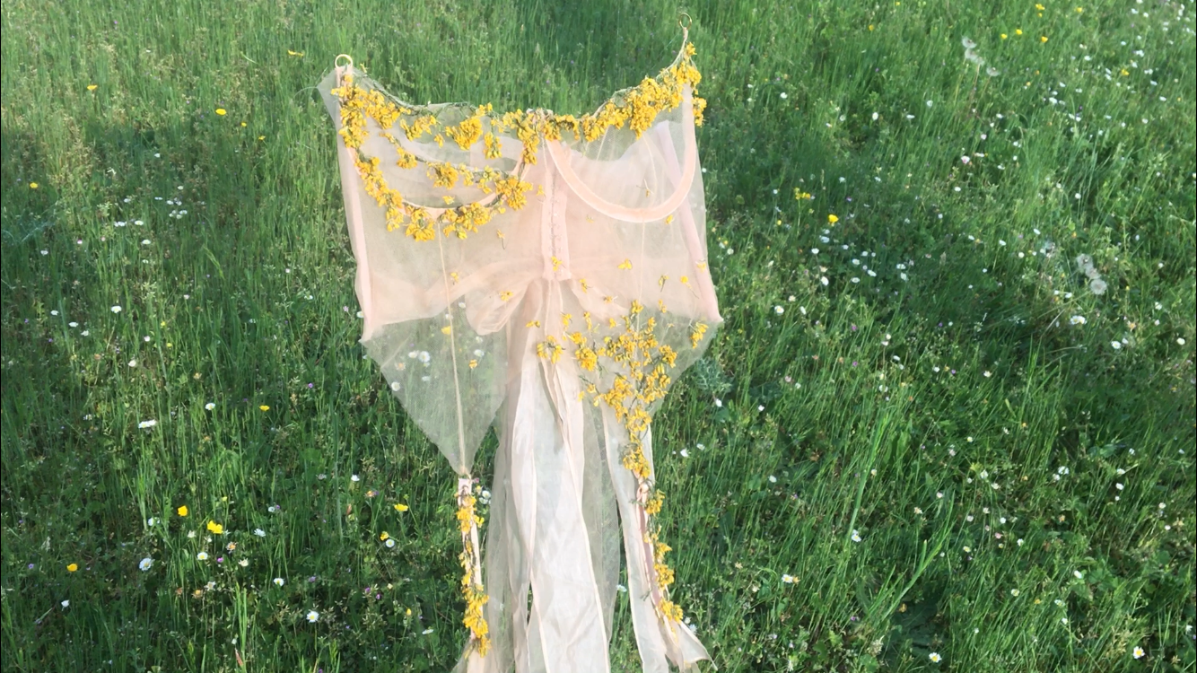 A corset with yellow flowers on a grassy background