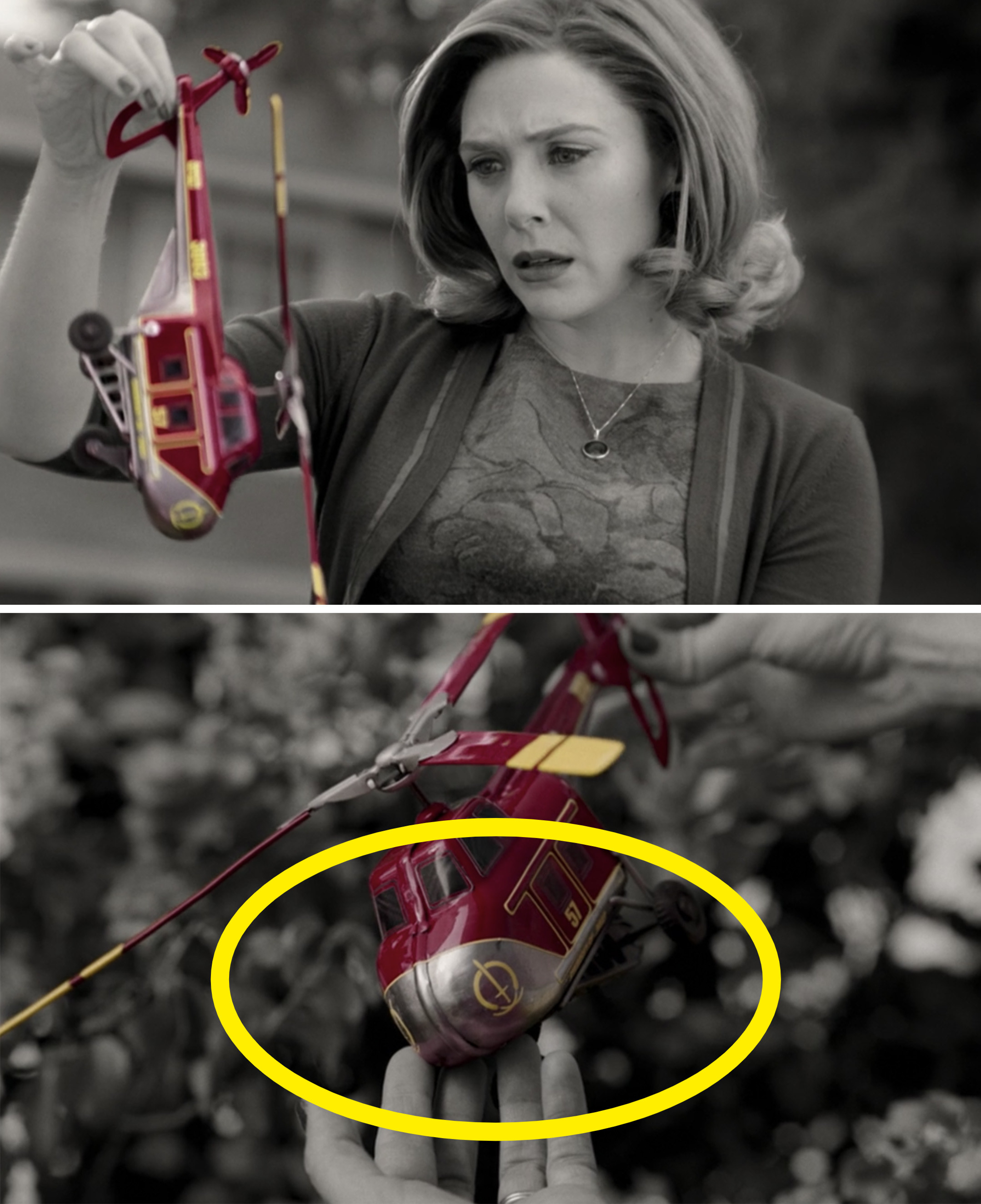 Wanda holding up a red helicopter and seeing the yellow S.W.O.R.D. logo
