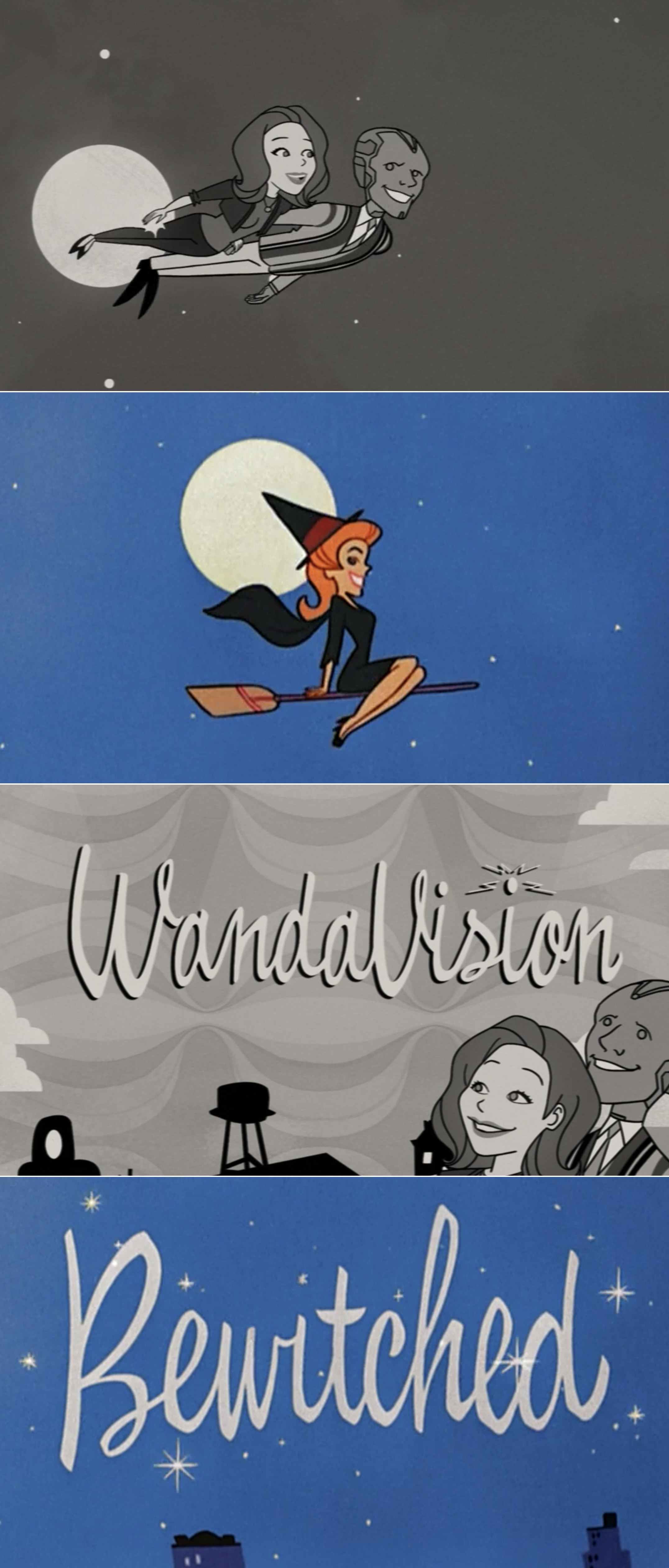 The WandaVision Episode 2 opening credits vs. the Bewitched ones