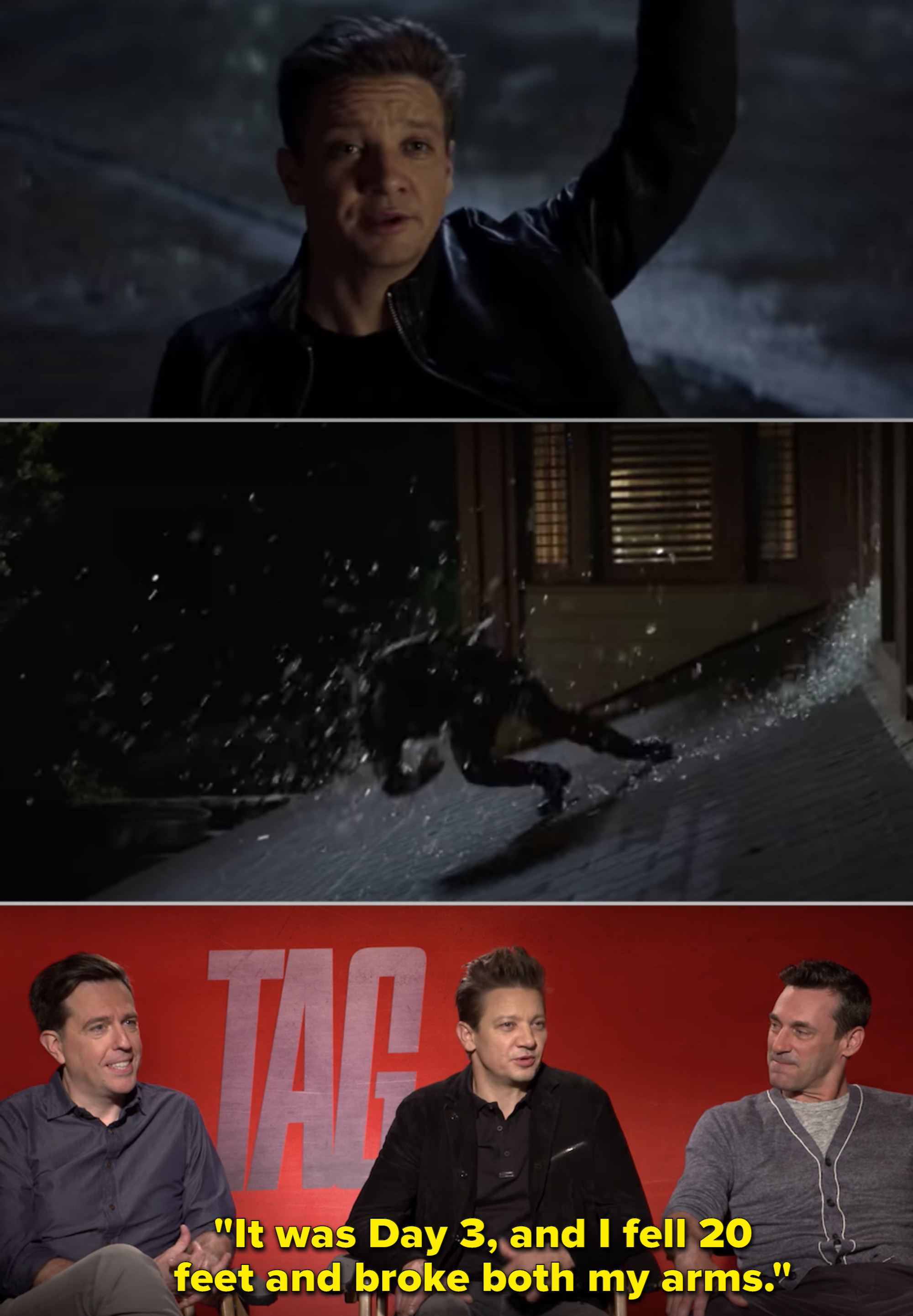 "Jeremy Renner in ""Tag"" and talking during an interview"