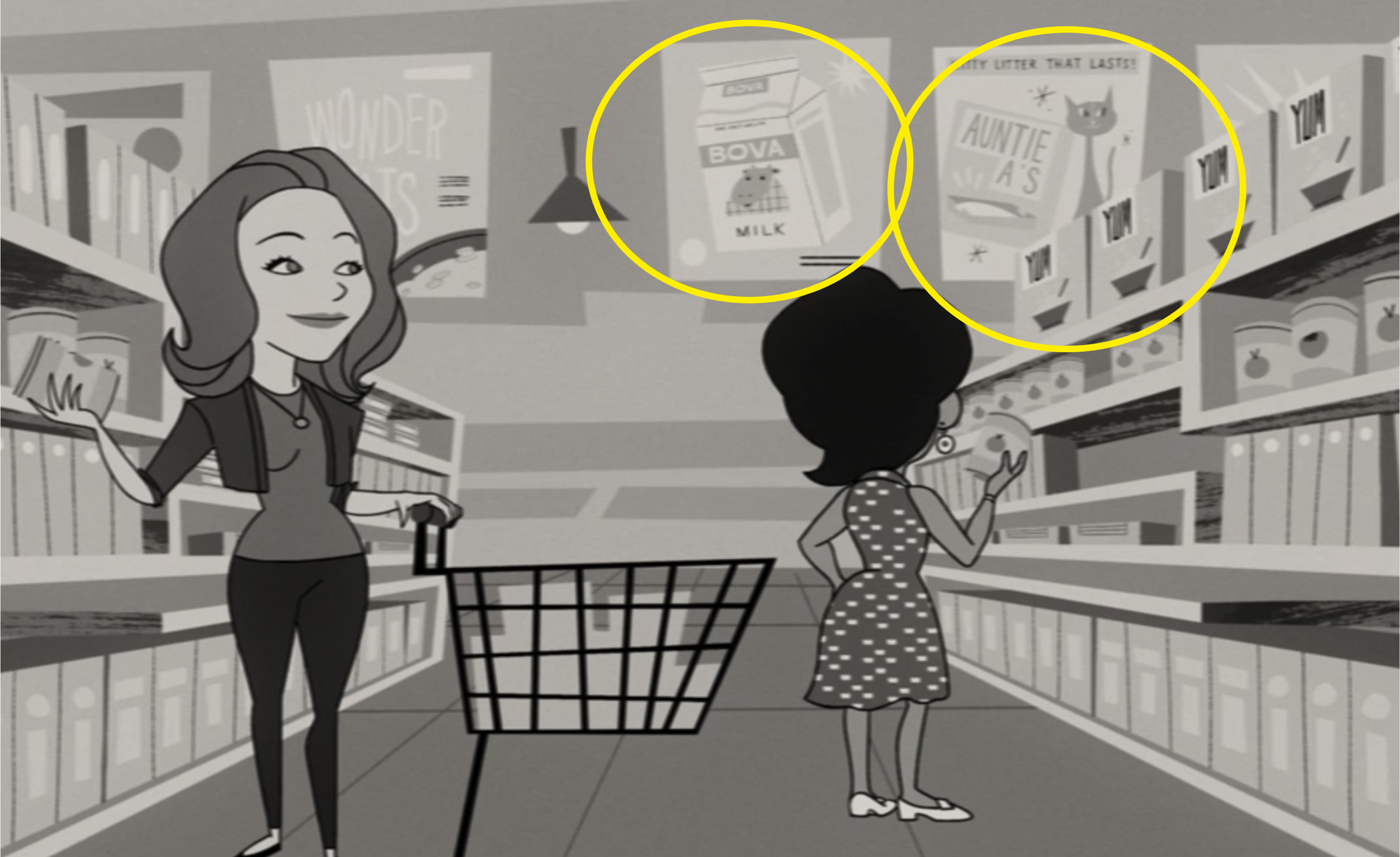 """Animated Wanda standing in a supermarket aisle with """"Bova milk"""" and """"Auntie A's kitty litter"""" signs in the background"""