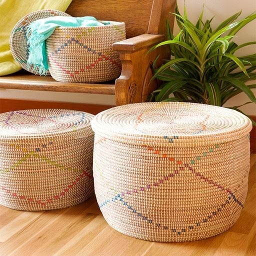 neutral baskets in small, medium, and large with sparse crisscrossing lines of rainbow color