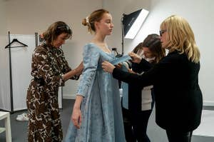 Phoebe Dynevor getting fitted for a gown
