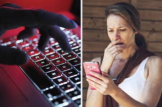 Hands typing on a keyboard next to a shocked woman