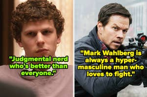 """Jesse Eisenberg in """"The Social Network"""" and Mark Wahlberg in """"Mile 22"""""""