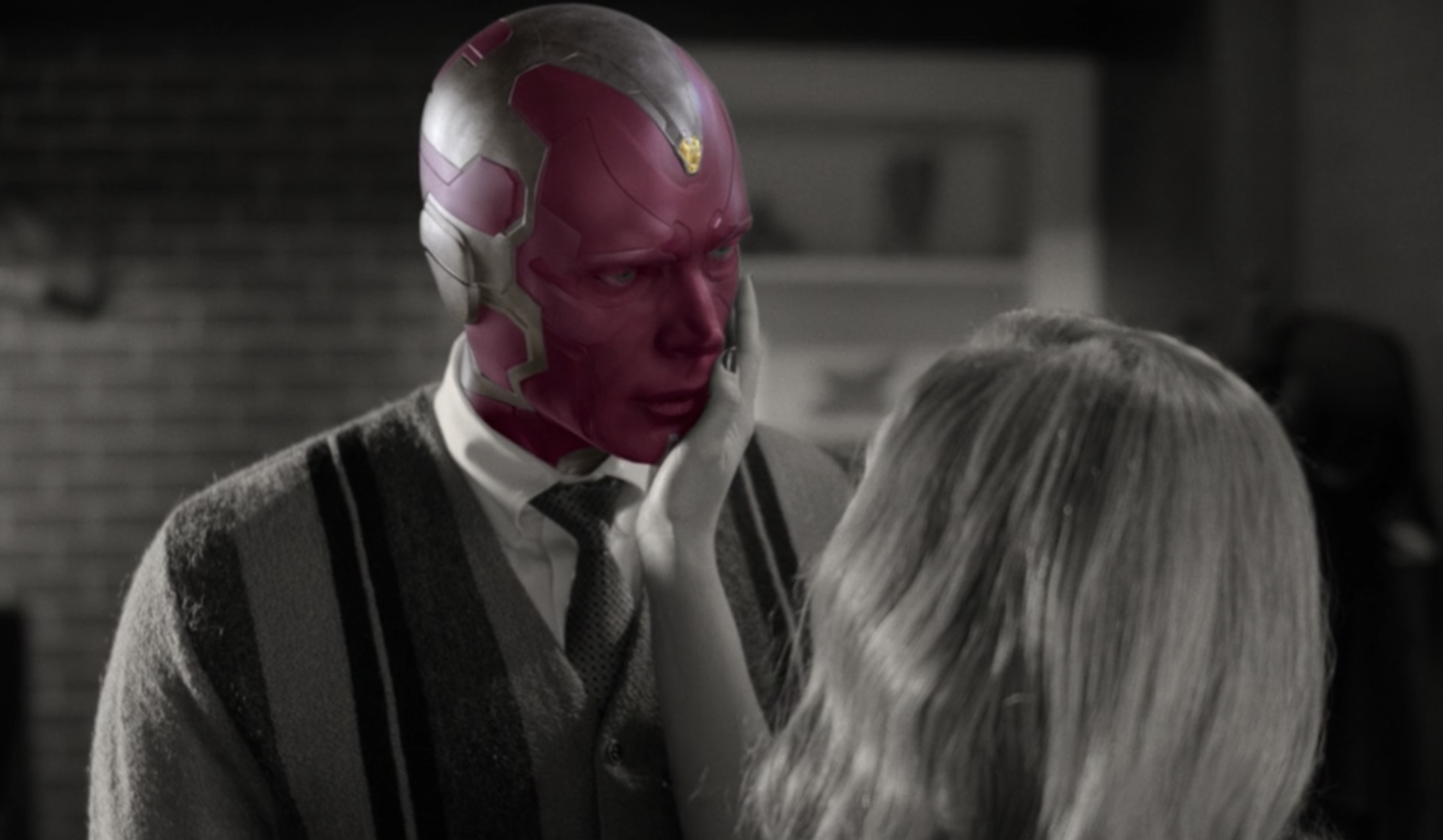 Vision's face being colorful and red again