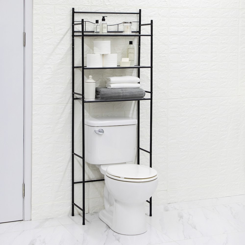 black over the toilet 3-shelf organizer with bathroom essentials on the shelves