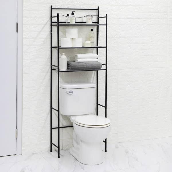 black over the toilet 3-shelf organizer with bathroom essentials on the shelves