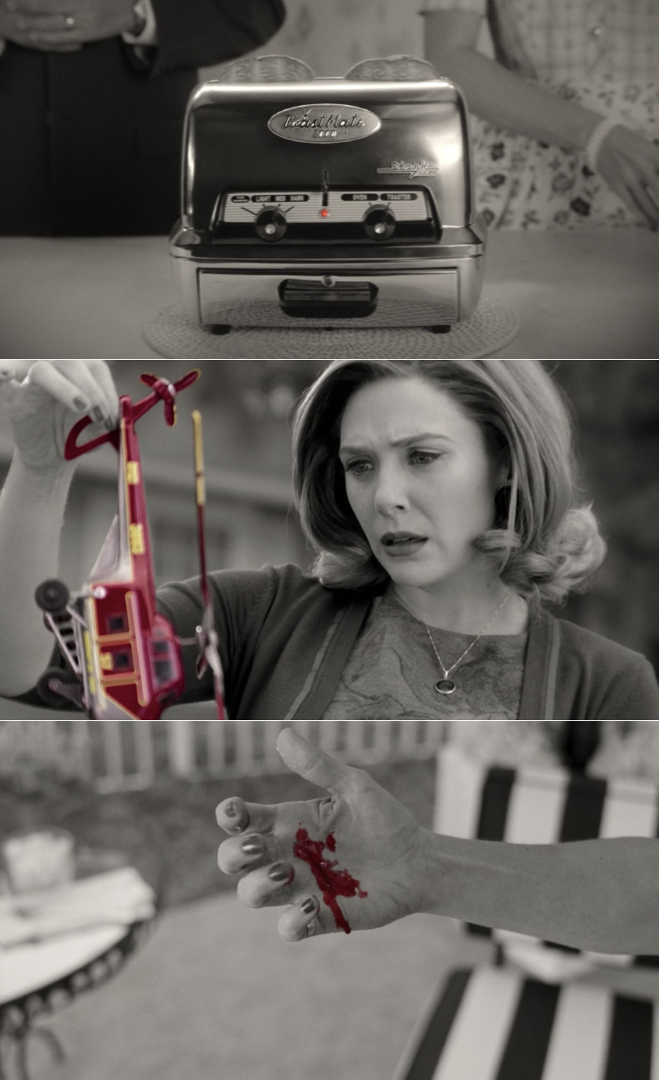 A red light on a toaster, the red helicopter Wanda finds, and blood on someone's hand