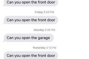 A brother asking if his sister can open the front door a bunch of times