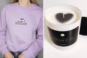 to the left: a model in a lavender sweatshirt with drivers license lyrics on it, to the right: a candle that says black like my soul