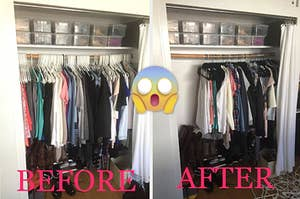 On left, filled closet with clothes on white hangers. On the right, same closet with double the space after switching to slim hangers