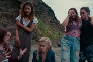 The girls get stranded on a deserted island